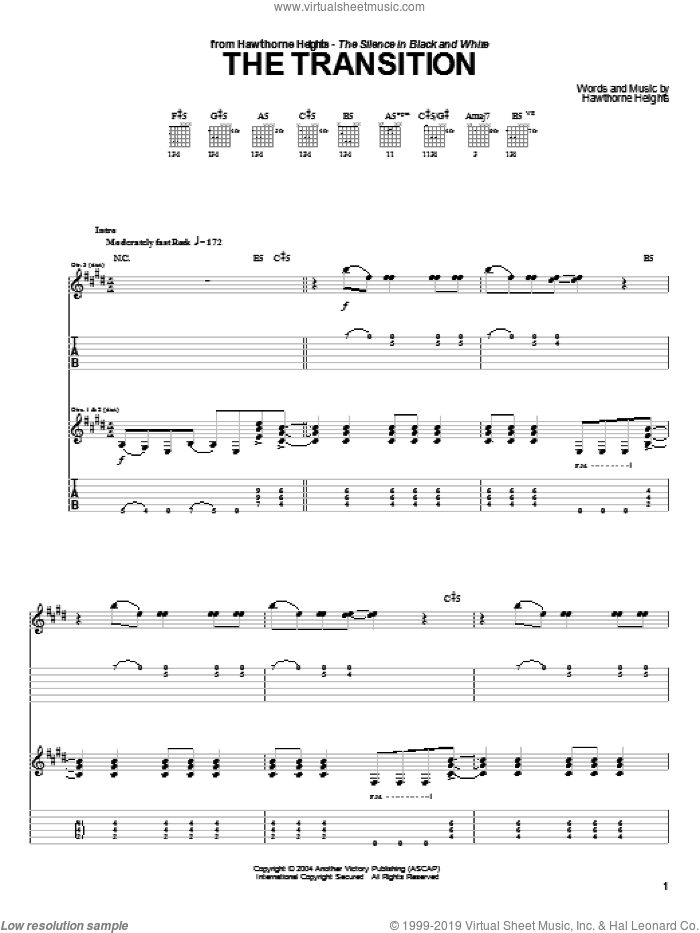 The Transition sheet music for guitar (tablature) by Hawthorne Heights, intermediate guitar (tablature). Score Image Preview.