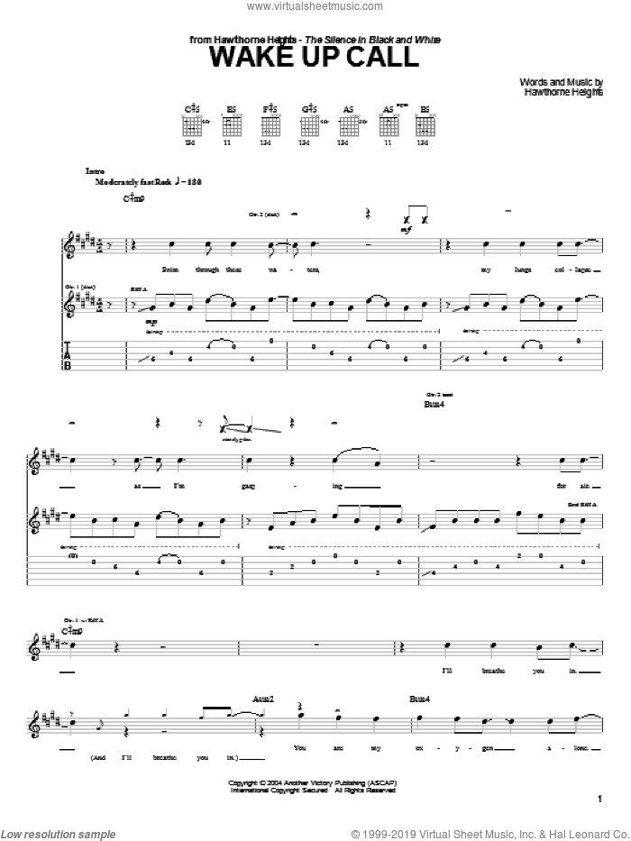 Wake Up Call sheet music for guitar (tablature) by Hawthorne Heights, intermediate guitar (tablature). Score Image Preview.