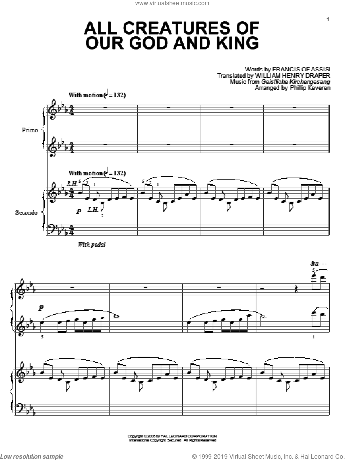 All Creatures Of Our God And King sheet music for piano four hands by Francis Of Assisi, Phillip Keveren, Geistliche Kirchengesang and William Henry Draper, intermediate skill level