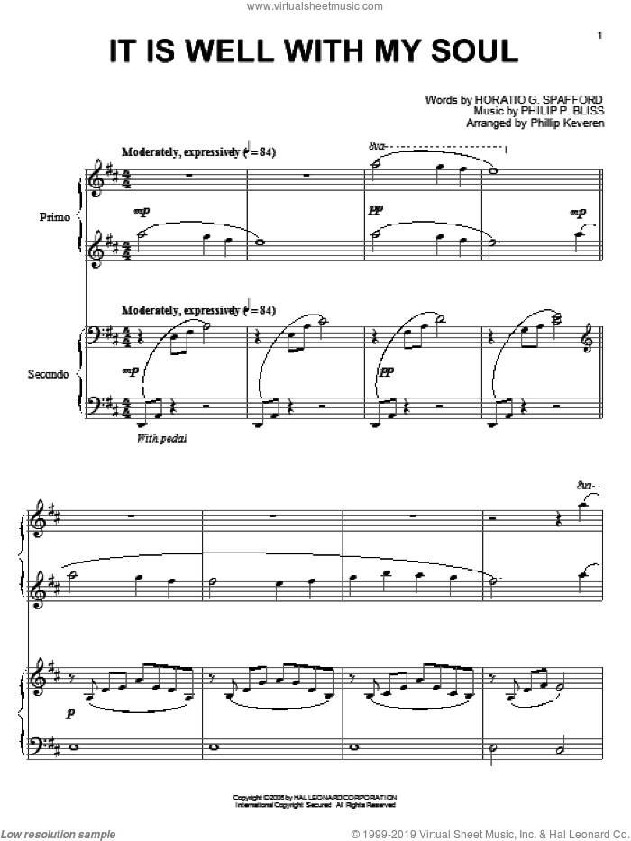 It Is Well With My Soul sheet music for piano four hands by Philip P. Bliss, Phillip Keveren, Mahalia Jackson, Rebecca St. James and Horatio G. Spafford, intermediate skill level