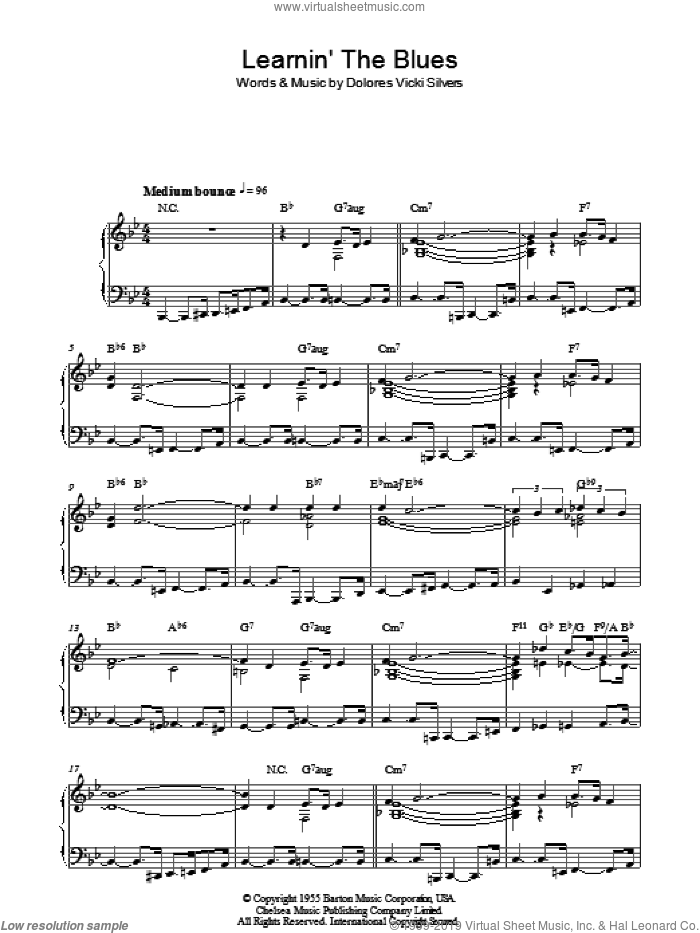 Learnin' The Blues sheet music for piano solo by Dolores Vicki Silvers, Frank Sinatra and Katie Melua. Score Image Preview.