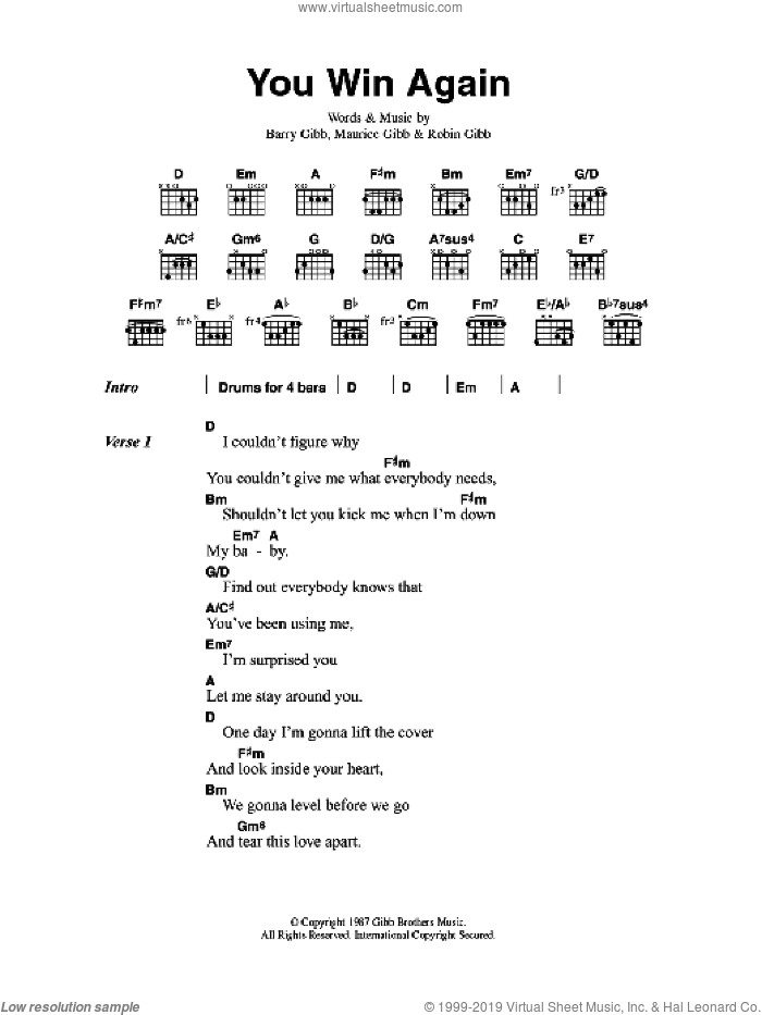 You Win Again sheet music for guitar (chords) by Bee Gees, Barry Gibb, Maurice Gibb and Robin Gibb, intermediate skill level