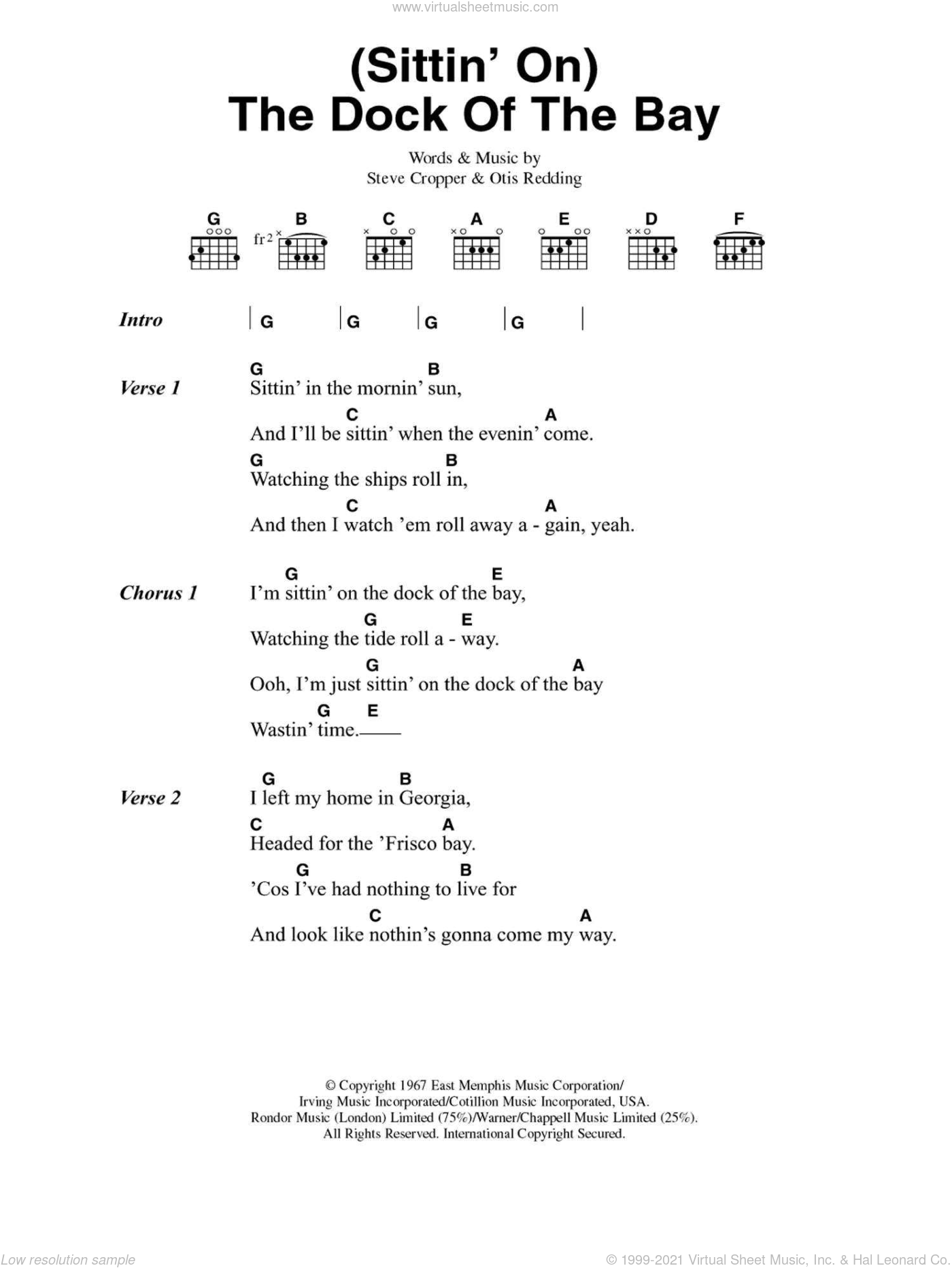 (Sittin' On) The Dock Of The Bay sheet music for guitar (chords) by Otis Redding and Steve Cropper. Score Image Preview.