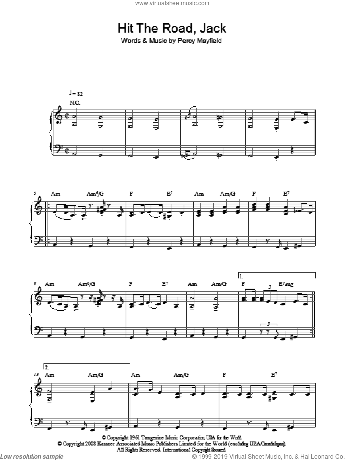 Hit The Road Jack, (intermediate) sheet music for piano solo by Ray Charles and Percy Mayfield, intermediate skill level