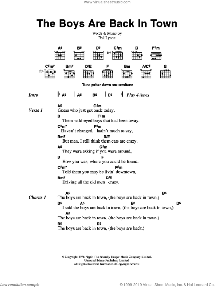 The Boys Are Back In Town sheet music for guitar (chords) by Thin Lizzy and Phil Lynott, intermediate skill level