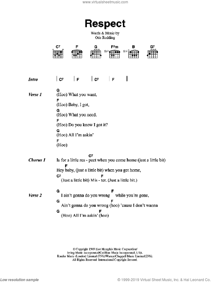 Respect sheet music for guitar (chords) by Aretha Franklin and Otis Redding, intermediate skill level