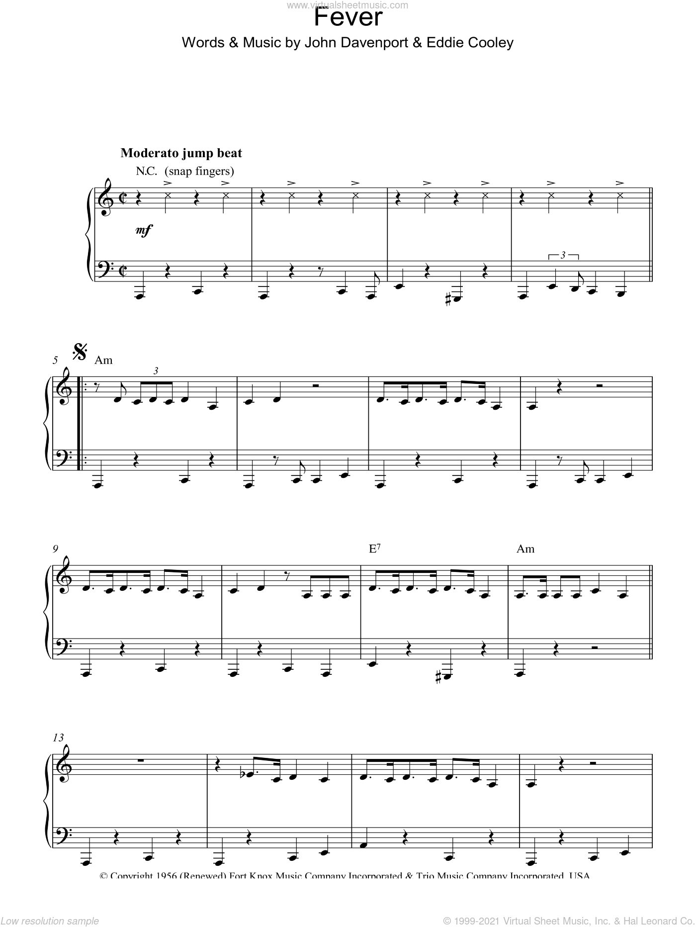 Fever sheet music for piano solo by Peggy Lee, Eddie Cooley and John Davenport, intermediate skill level