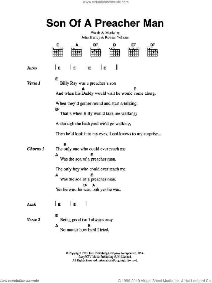 Son Of A Preacher Man sheet music for guitar (chords) by John Hurley, Dusty Springfield and Ronnie Wilkins. Score Image Preview.