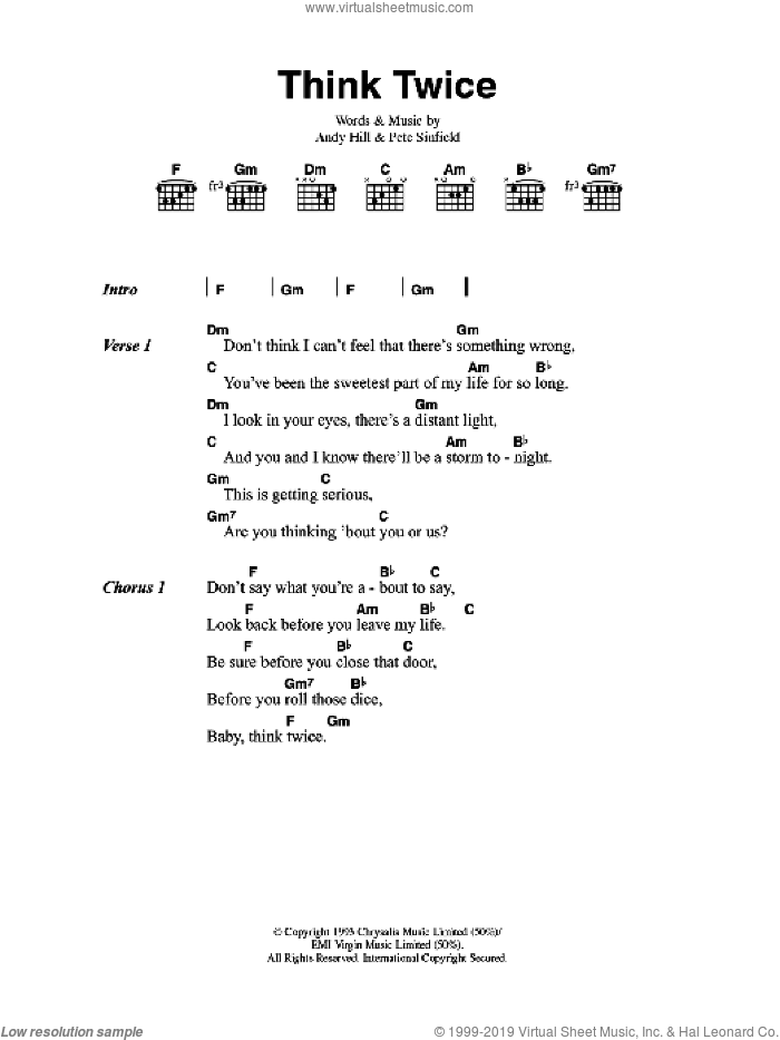 Think Twice sheet music for guitar (chords, lyrics, melody) by Andy Hill