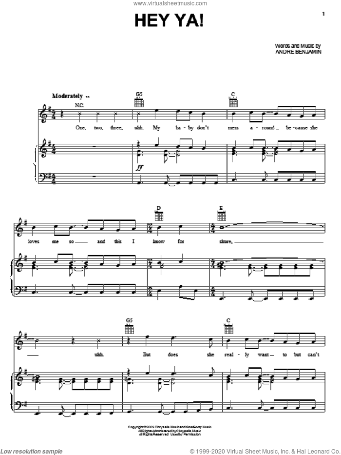Hey Ya! sheet music for voice, piano or guitar by Andre Benjamin and OutKast. Score Image Preview.
