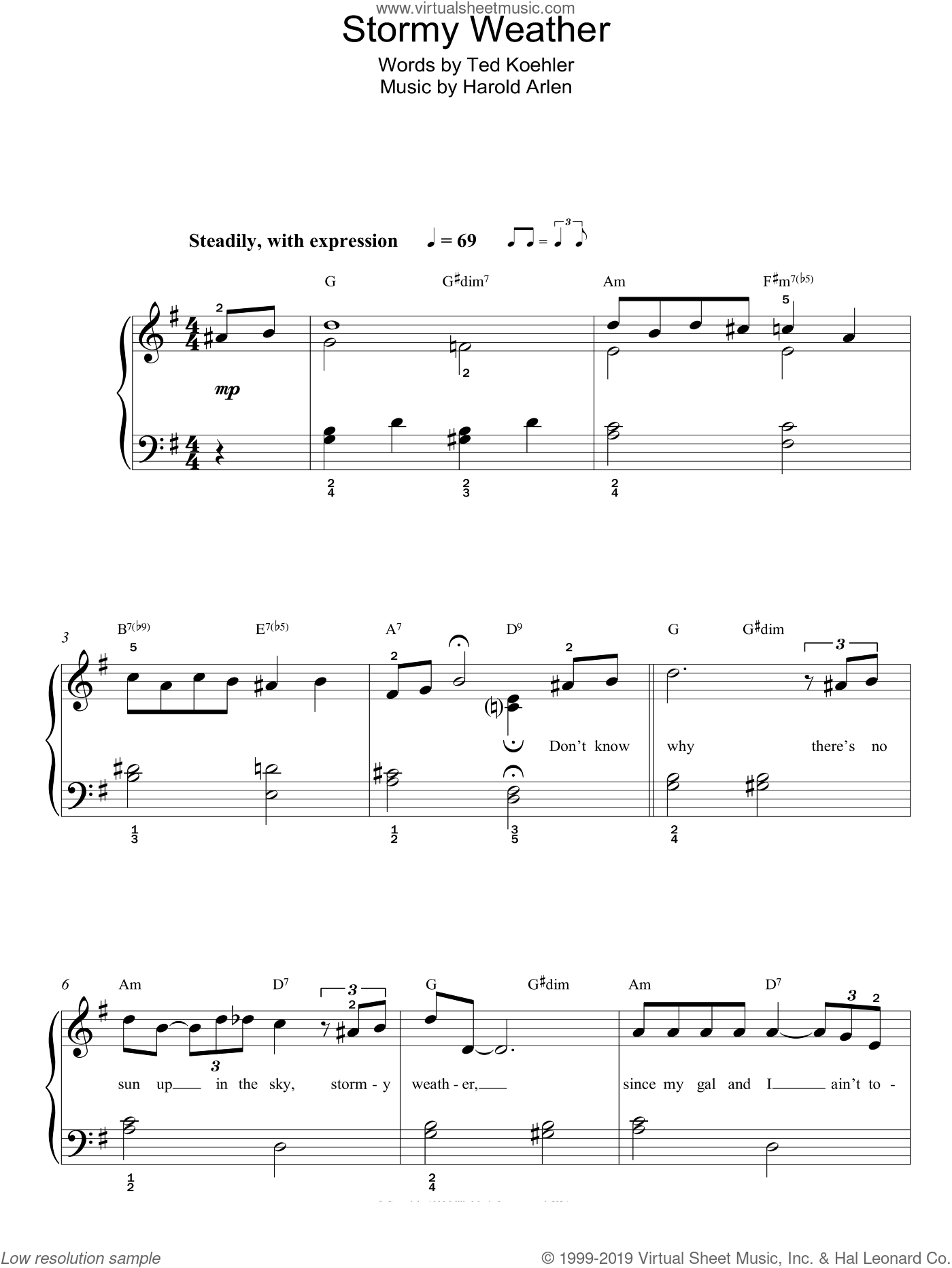 Stormy Weather (Keeps Rainin' All The Time) sheet music for piano solo by Lena Horne, Harold Arlen and Ted Koehler, easy skill level