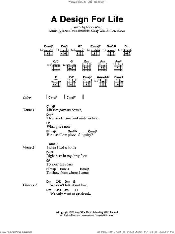 A Design For Life sheet music for guitar (chords) by Sean Moore