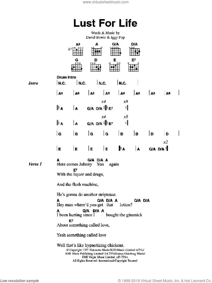 Lust For Life sheet music for guitar (chords) by Iggy Pop and David Bowie. Score Image Preview.