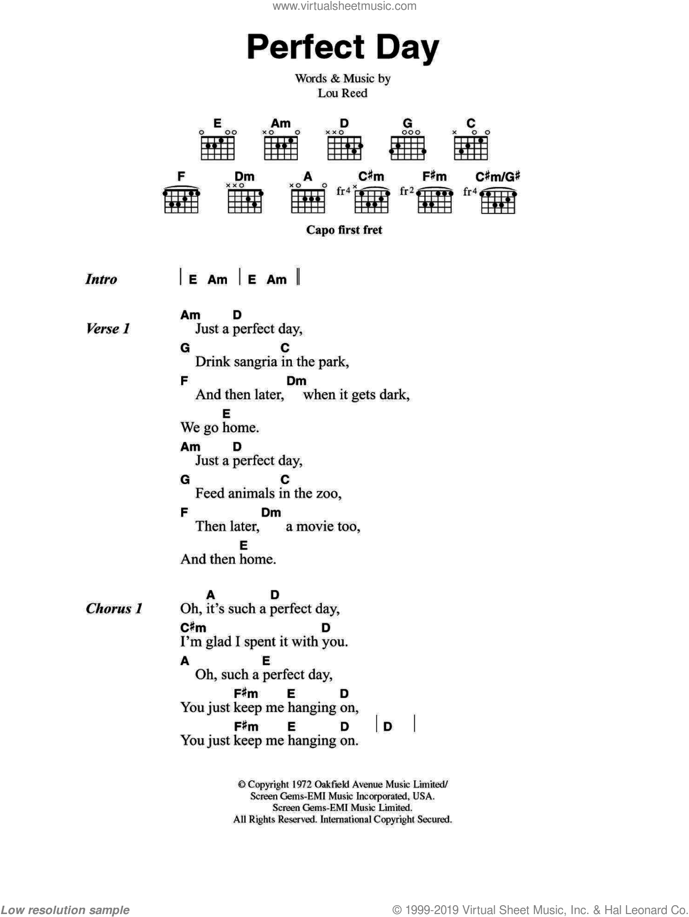 Perfect Day sheet music for guitar (chords) by Lou Reed. Score Image Preview.
