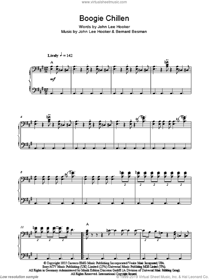 Boogie Chillen sheet music for piano solo by Bernard Besman and John Lee Hooker. Score Image Preview.