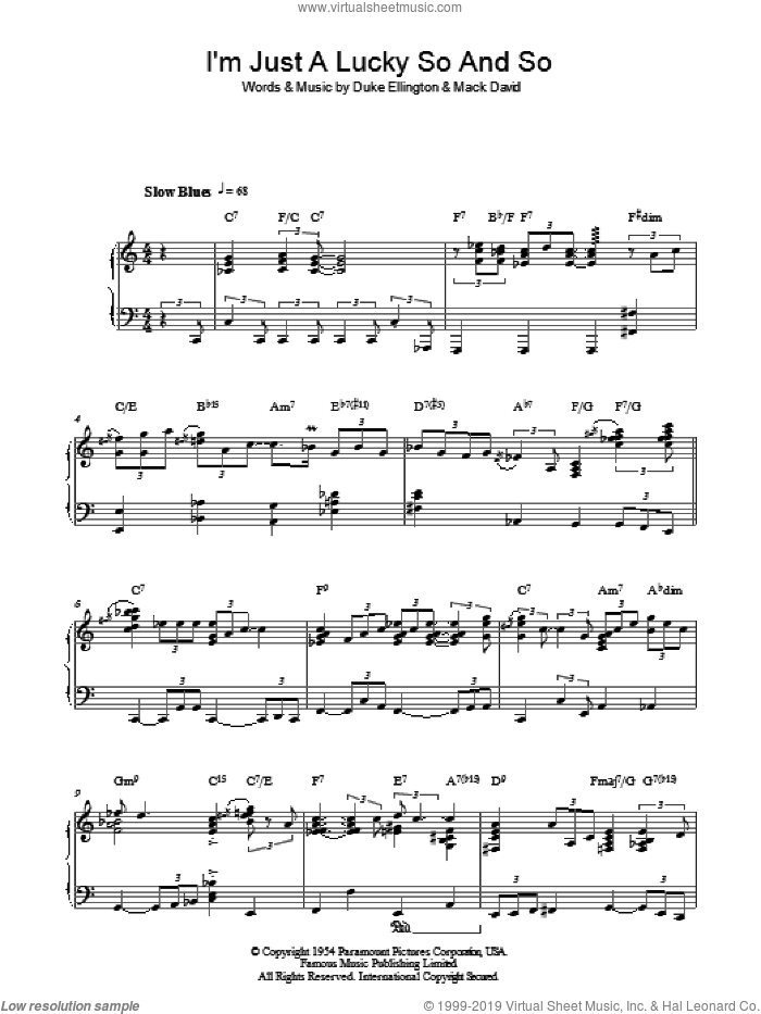 I'm Just A Lucky So And So sheet music for piano solo by Duke Ellington