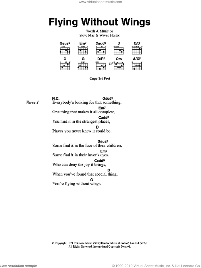 Flying Without Wings sheet music for guitar (chords) by Westlife, Steve Mac and Wayne Hector, intermediate guitar (chords). Score Image Preview.