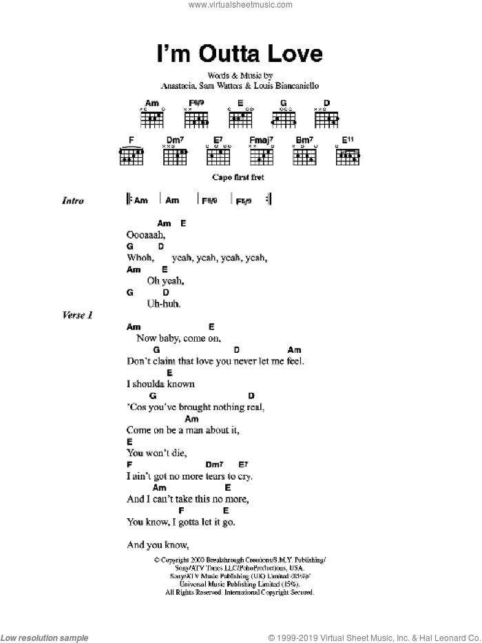 I'm Outta Love sheet music for guitar (chords) by Louis Biancaniello, Anastacia and Sam Watters. Score Image Preview.