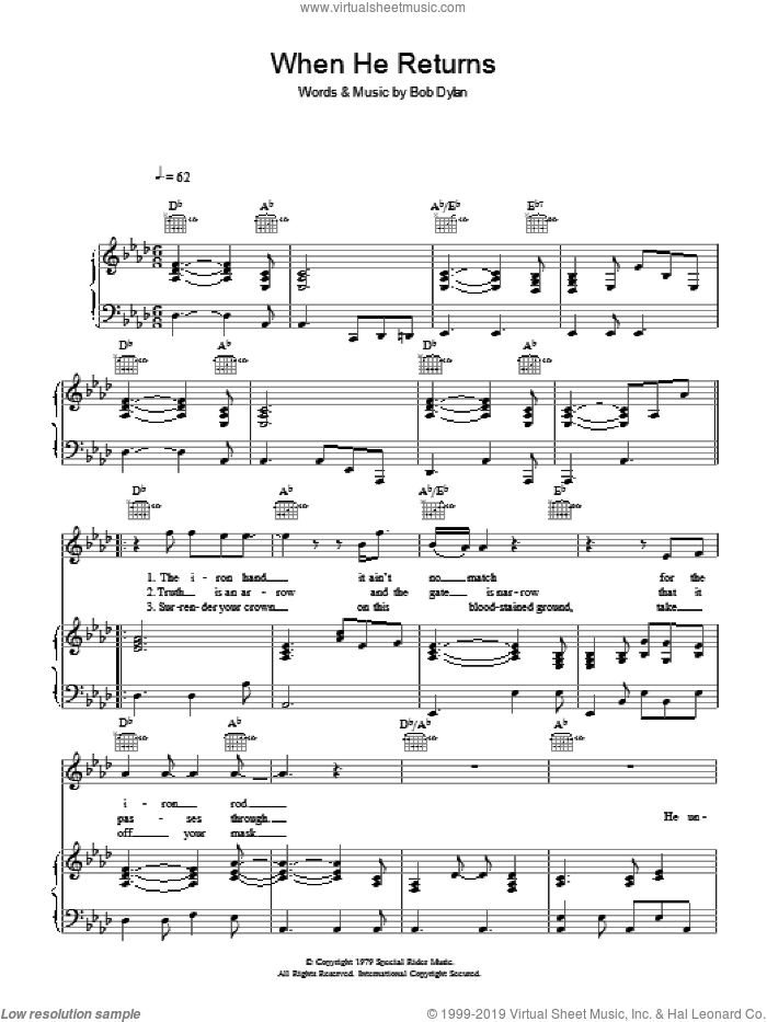 When He Returns sheet music for voice, piano or guitar by Bob Dylan, intermediate skill level