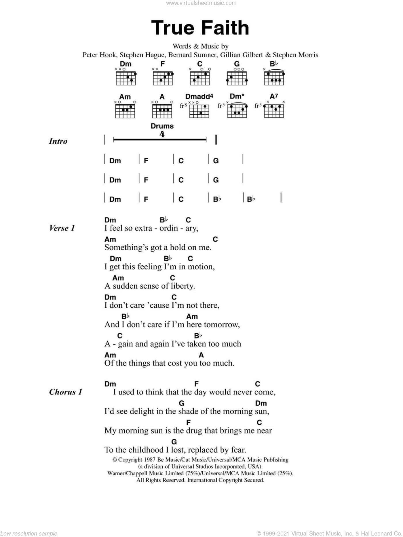 Order - True Faith sheet music for guitar (chords) [PDF]