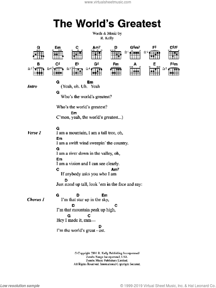 The World's Greatest sheet music for guitar (chords) by Robert Kelly. Score Image Preview.