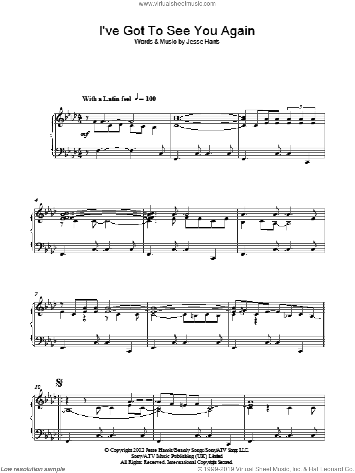 I've Got To See You Again sheet music for piano solo by Jesse Harris