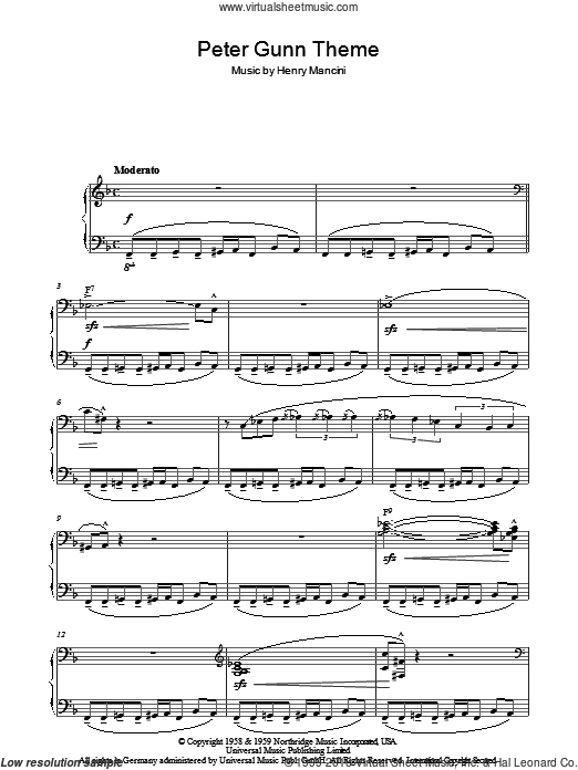 Peter Gunn Theme sheet music for piano solo by Henry Mancini. Score Image Preview.