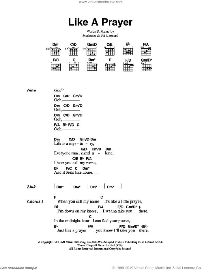 Like A Prayer sheet music for guitar (chords) by Patrick Leonard