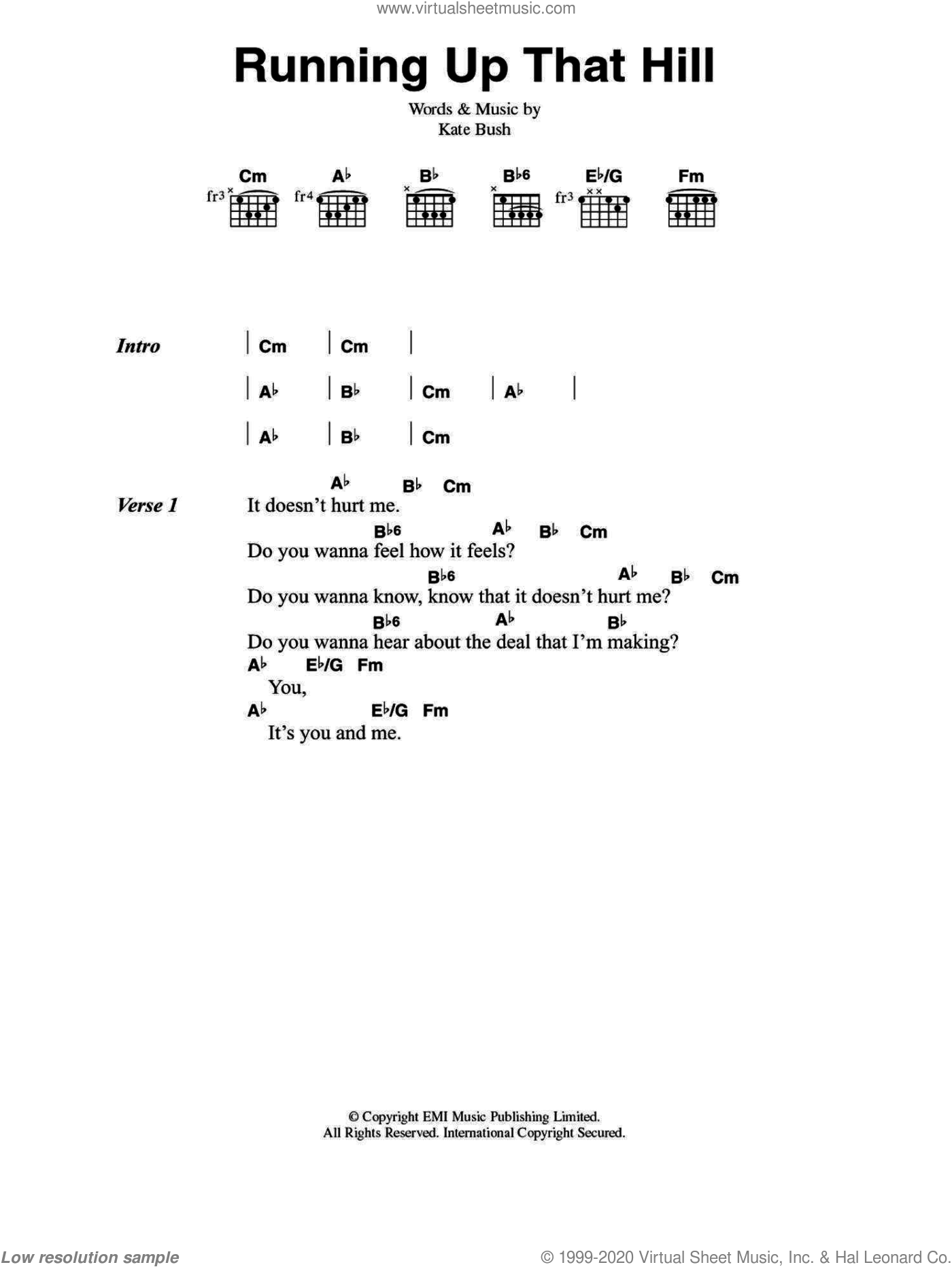 Running Up That Hill sheet music for guitar (chords) by Kate Bush, intermediate skill level