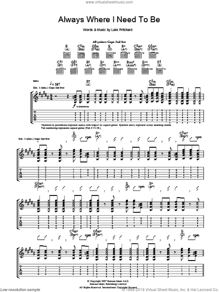 Always Where I Need To Be sheet music for guitar (tablature) by Luke Pritchard and The Kooks. Score Image Preview.