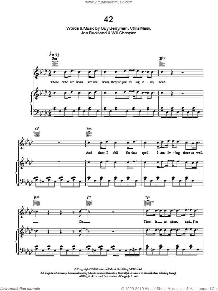 42 sheet music for voice, piano or guitar by Coldplay, Chris Martin, Guy Berryman, Jon Buckland, Jon Hopkins and Will Champion, intermediate skill level