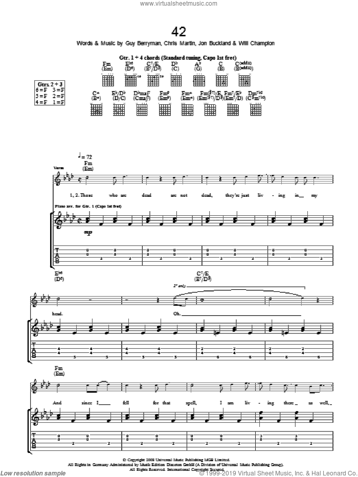 42 sheet music for guitar (tablature) by Coldplay, Chris Martin, Guy Berryman, Jon Buckland, Jon Hopkins and Will Champion, intermediate skill level