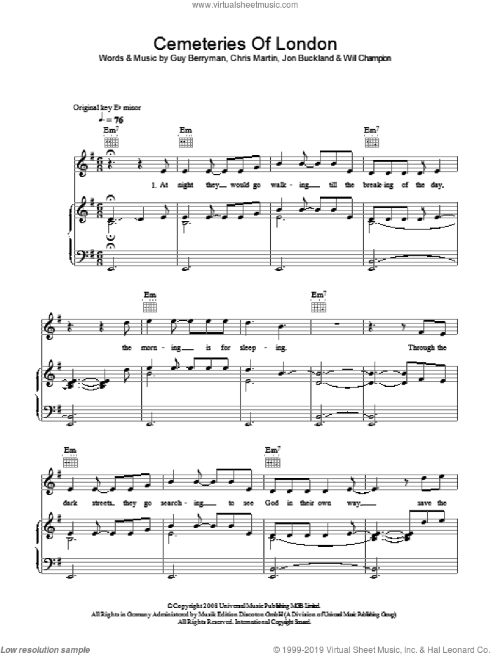 Cemeteries Of London sheet music for voice, piano or guitar by Coldplay, Chris Martin, Guy Berryman, Jon Buckland, Jon Hopkins and Will Champion, intermediate skill level