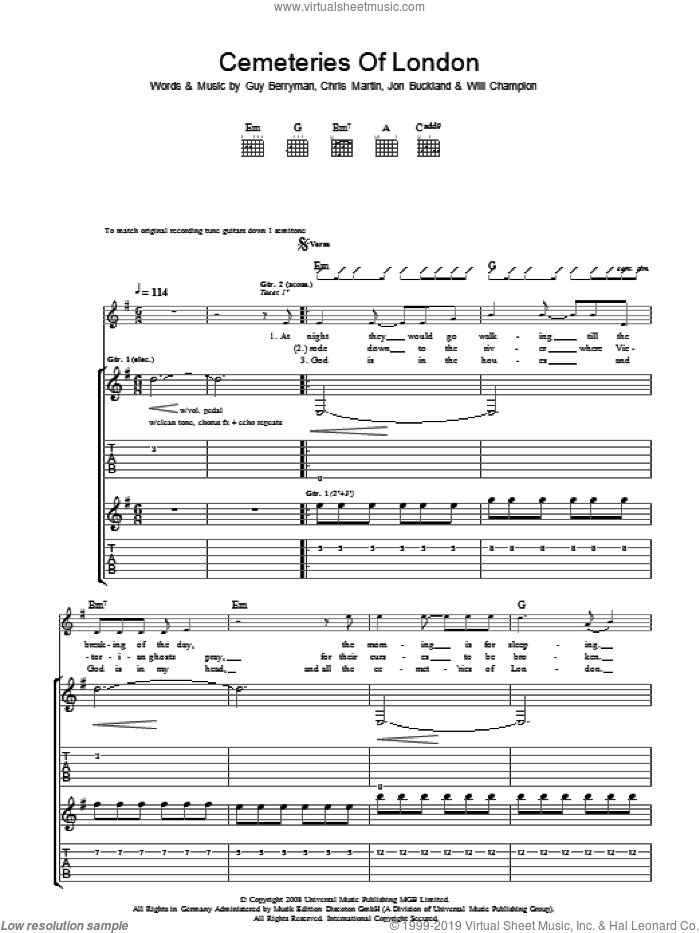 Cemeteries Of London sheet music for guitar (tablature) by Coldplay. Score Image Preview.