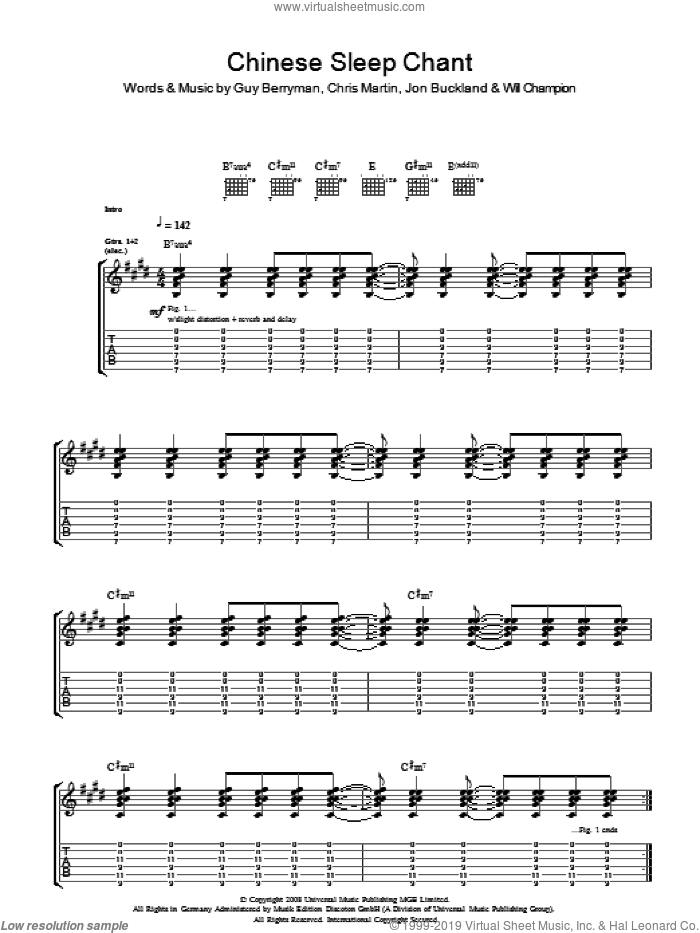 Chinese Sleep Chant sheet music for guitar (tablature) by Coldplay, Chris Martin, Guy Berryman, Jon Buckland, Jon Hopkins and Will Champion, intermediate. Score Image Preview.