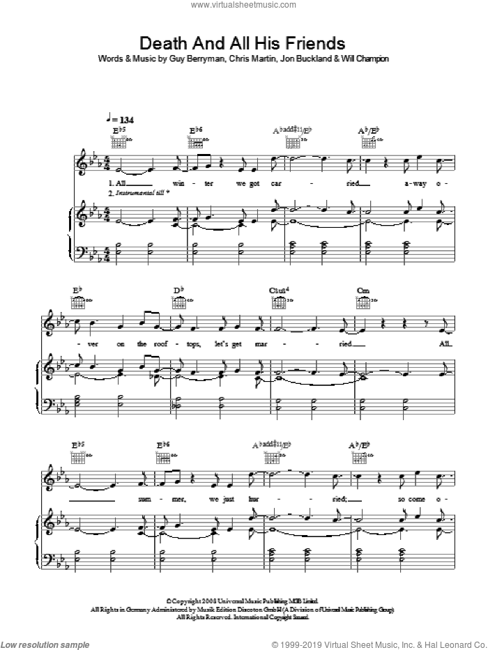 Death And All His Friends sheet music for voice, piano or guitar by Coldplay, intermediate voice, piano or guitar. Score Image Preview.