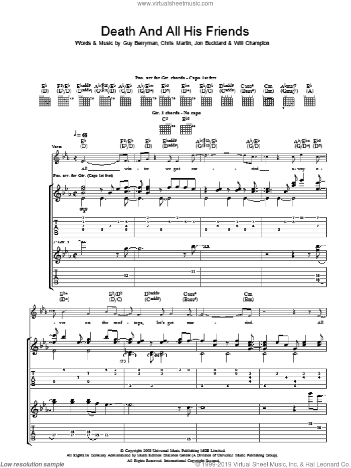 Death And All His Friends sheet music for guitar (tablature) by Chris Martin, Coldplay, Guy Berryman, Jon Buckland and Will Champion. Score Image Preview.