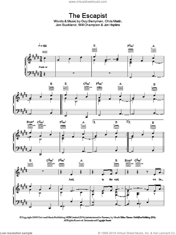 The Escapist sheet music for voice, piano or guitar by Coldplay, Chris Martin, Guy Berryman, Jon Buckland, Jon Hopkins and Will Champion, intermediate