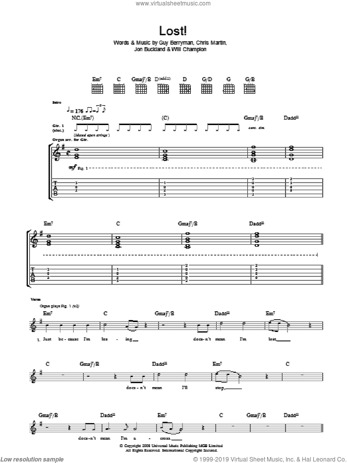 Lost! sheet music for guitar (tablature) by Coldplay, intermediate. Score Image Preview.