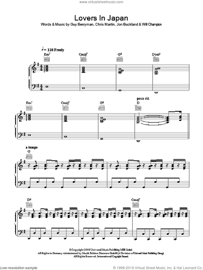 Lovers In Japan sheet music for voice, piano or guitar by Coldplay, Chris Martin, Guy Berryman, Jon Buckland, Jon Hopkins and Will Champion, intermediate skill level