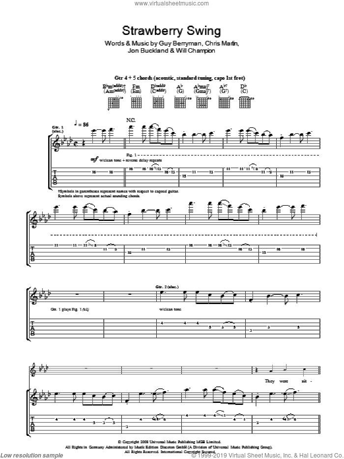 Strawberry Swing sheet music for guitar (tablature) by Chris Martin, Coldplay, Guy Berryman, Jon Buckland and Will Champion. Score Image Preview.