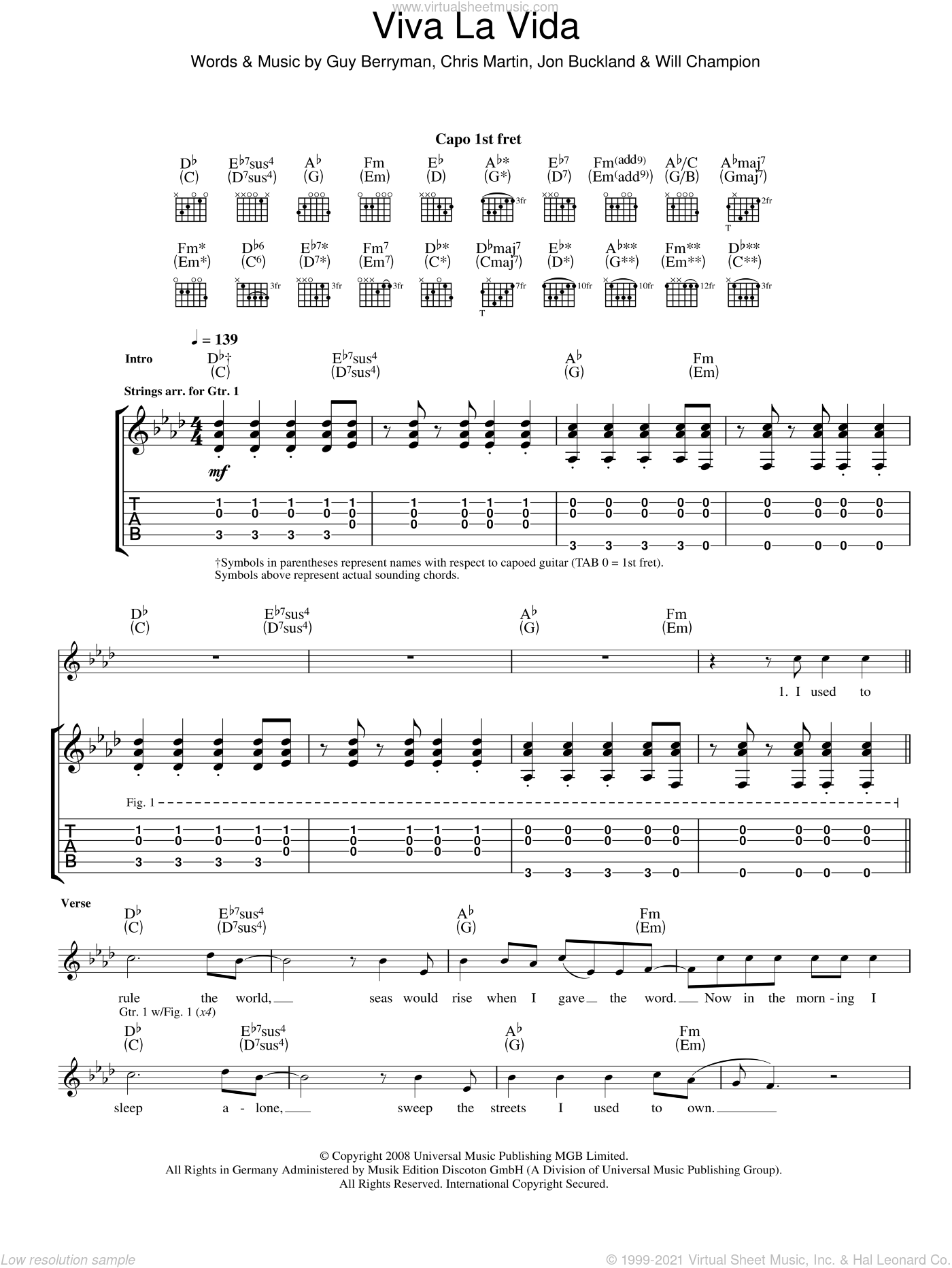 Viva La Vida sheet music for guitar (tablature) by Chris Martin, Coldplay, Guy Berryman, Jon Buckland and Will Champion. Score Image Preview.