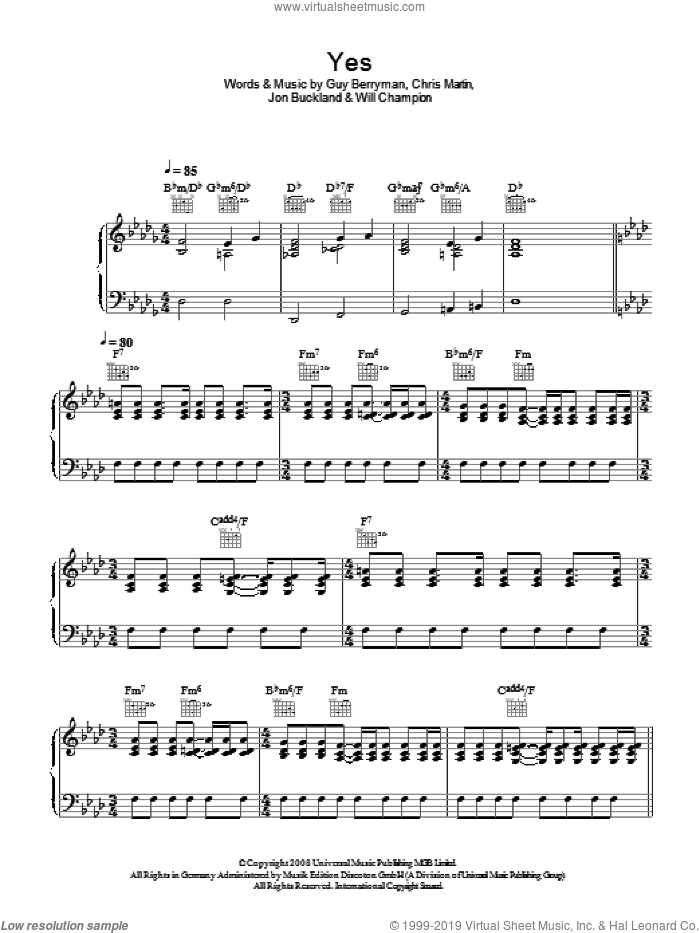 Yes sheet music for voice, piano or guitar by Coldplay, Chris Martin, Guy Berryman, Jon Buckland and Will Champion, intermediate. Score Image Preview.