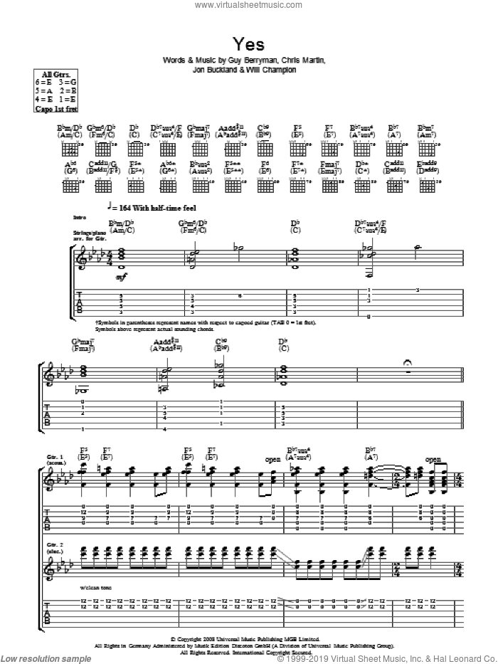 Yes sheet music for guitar (tablature) by Coldplay, Chris Martin, Guy Berryman, Jon Buckland and Will Champion, intermediate skill level