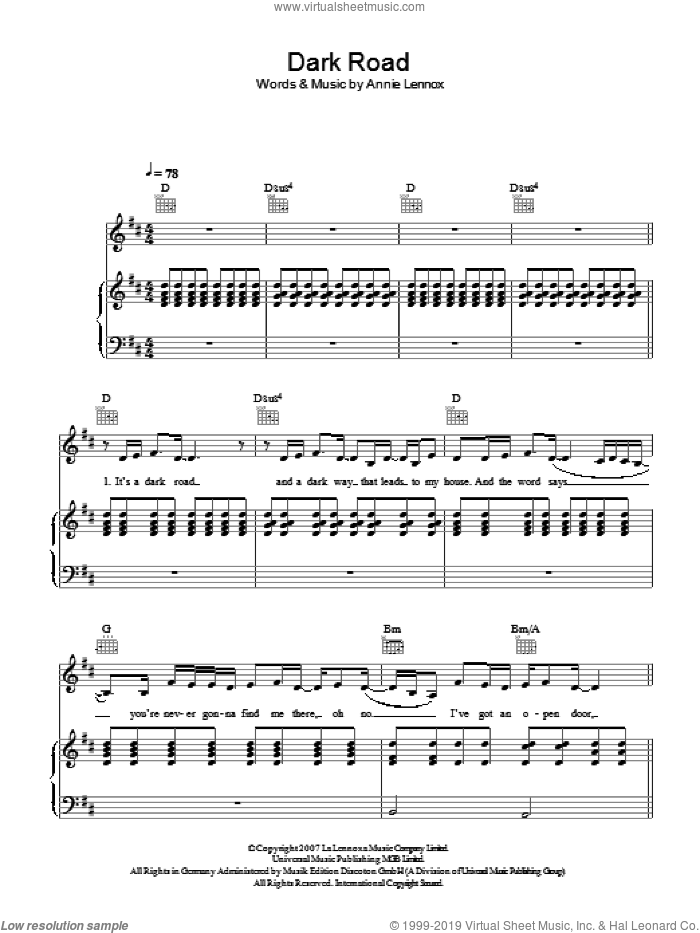 Dark Road sheet music for voice, piano or guitar by Annie Lennox, intermediate. Score Image Preview.