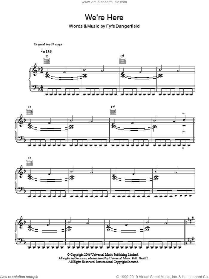 We're Here sheet music for voice, piano or guitar by Guillemots and Fyfe Dangerfield, intermediate voice, piano or guitar. Score Image Preview.