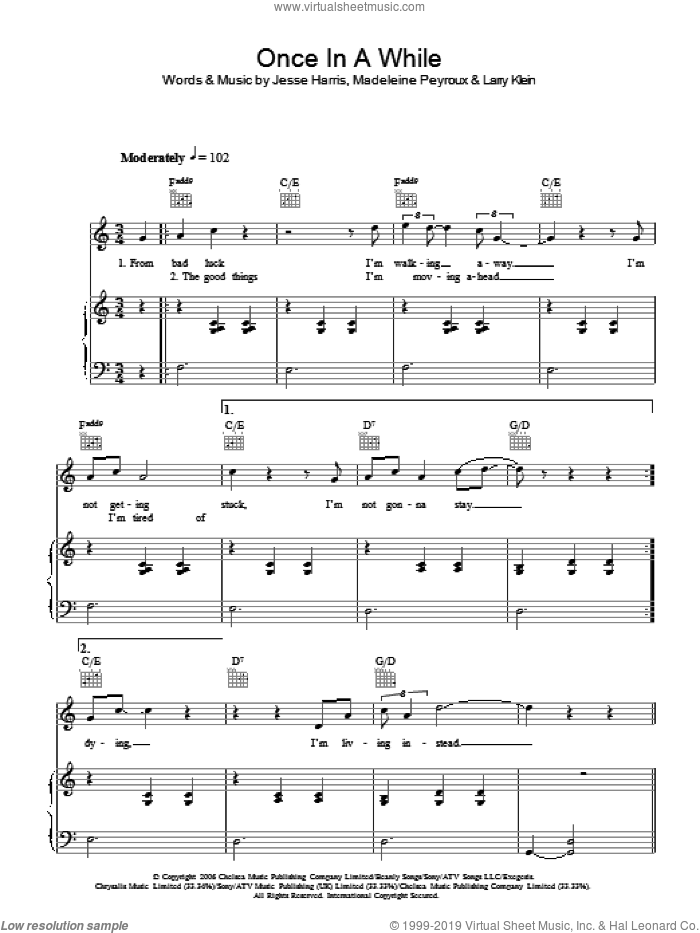Once In A While sheet music for voice, piano or guitar by Jesse Harris