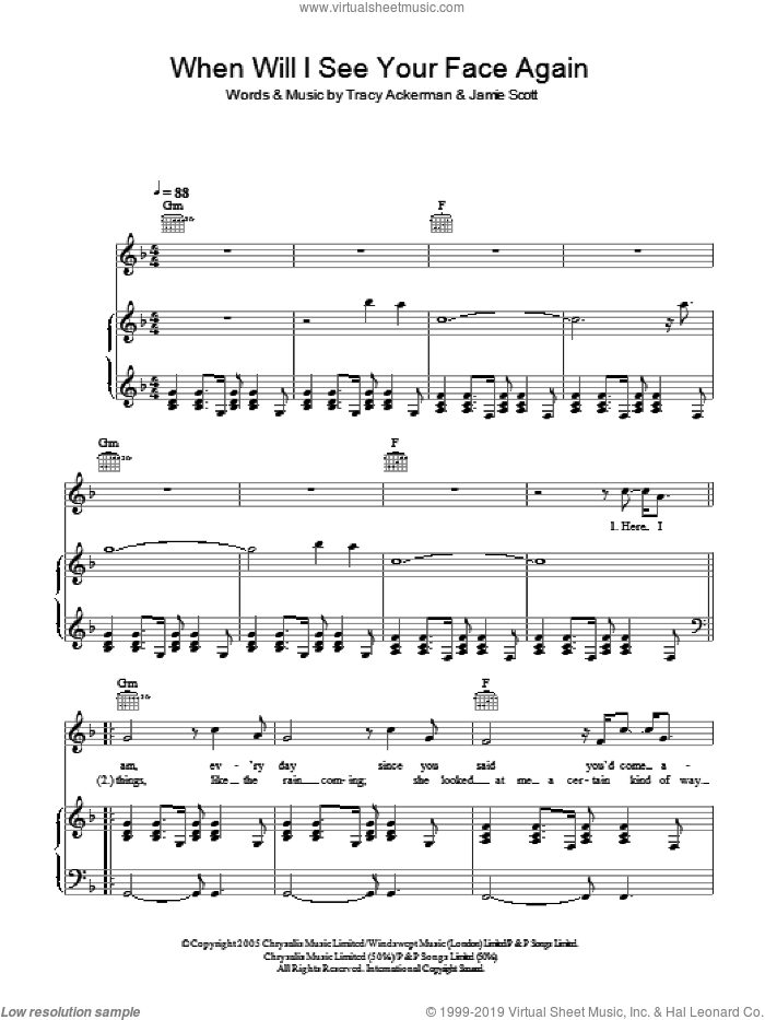When Will I See Your Face Again sheet music for voice, piano or guitar by Tracy Ackerman and Jamie Scott. Score Image Preview.
