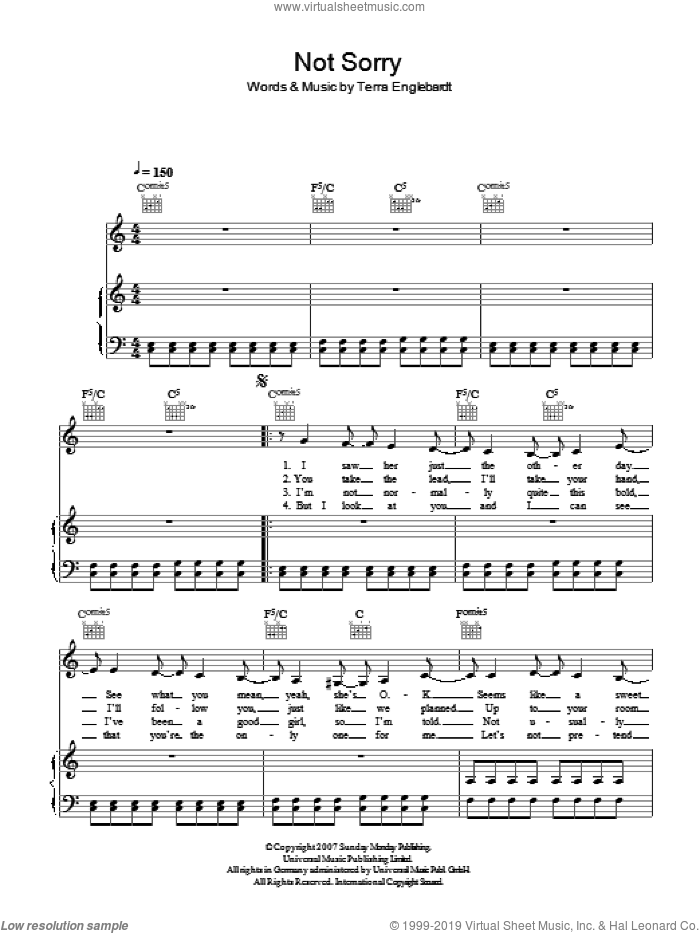 Not Sorry sheet music for voice, piano or guitar by Terra Naomi, intermediate voice, piano or guitar. Score Image Preview.