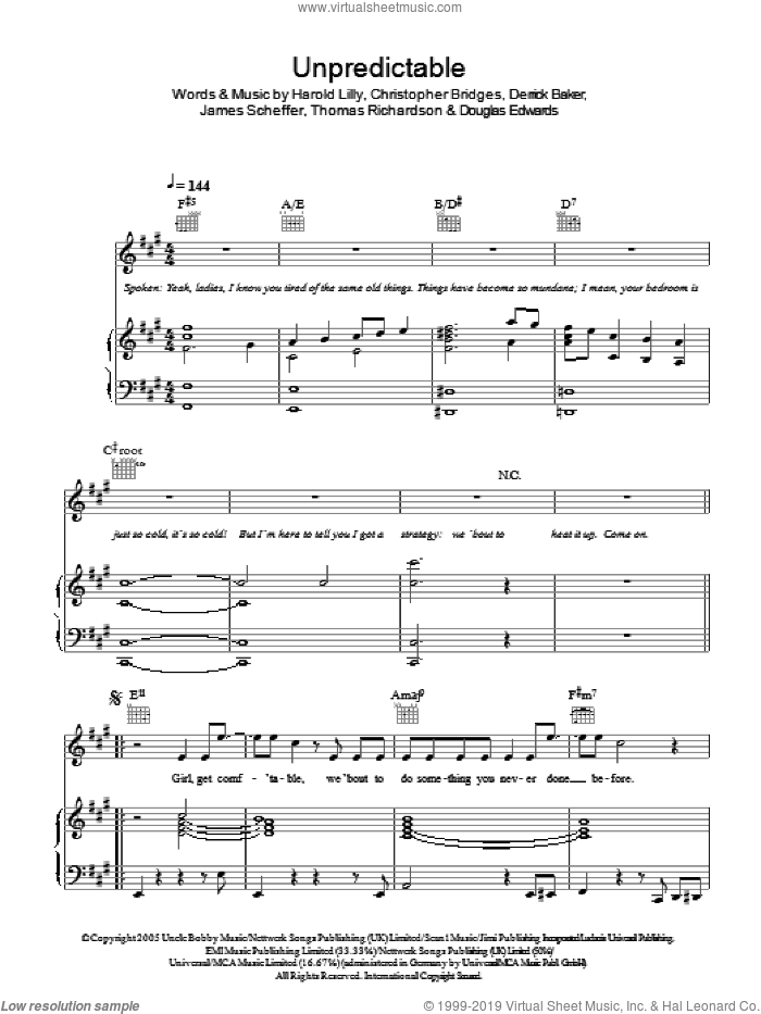Unpredictable sheet music for voice, piano or guitar by Christopher Bridges, Harold Lilly, Jr. and James Scheffer. Score Image Preview.